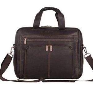 Kenneth Cole Brown Leather Laptop Portfolio Case